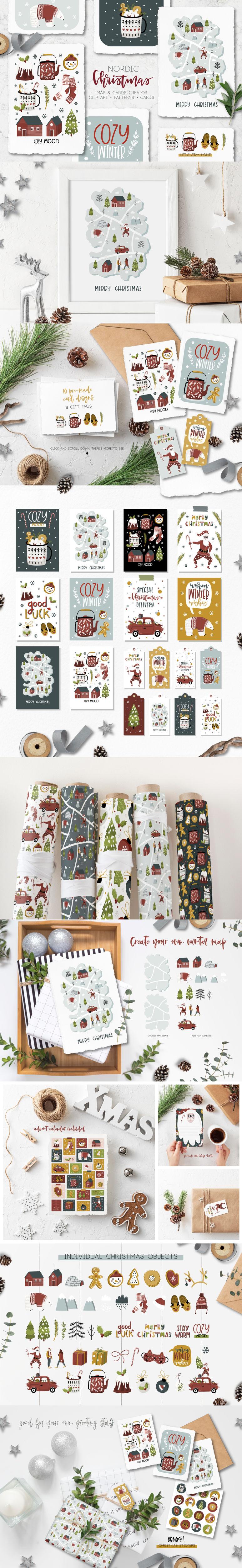 Nordic Christmas Map Creator By Lokko Studio Thehungryjpeg Com