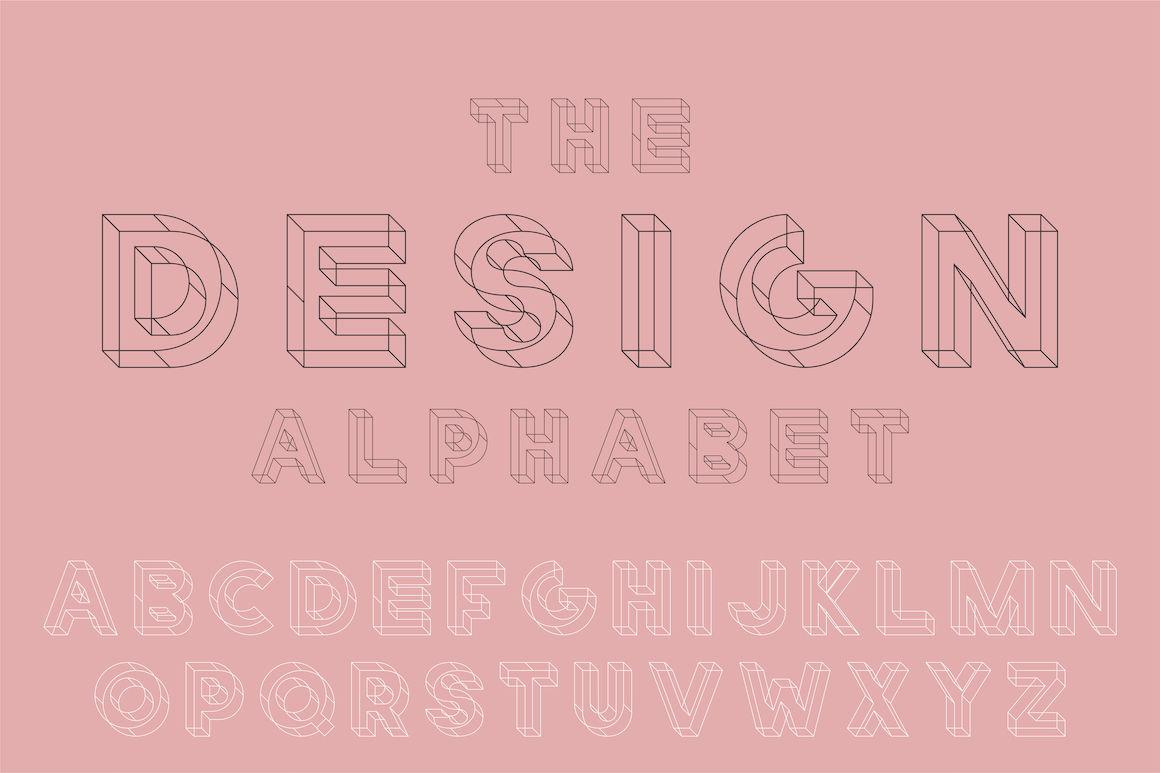 English Geometric Alphabet By Expressshop Thehungryjpeg Com