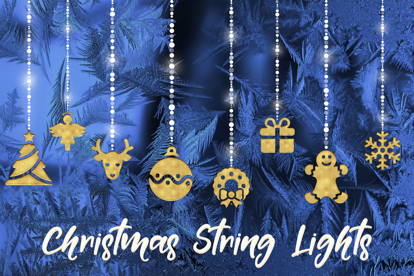 Christmas String Lights Clipart By North Sea Studio