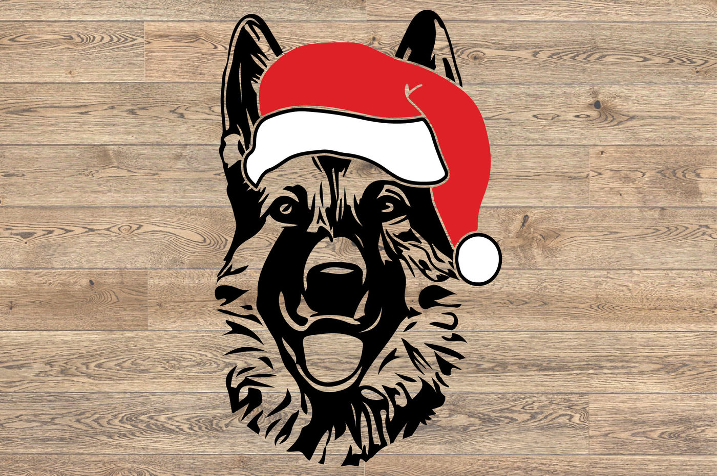 German Shepherd Whit Christmas Hat Dog Santa K 9 1118s By