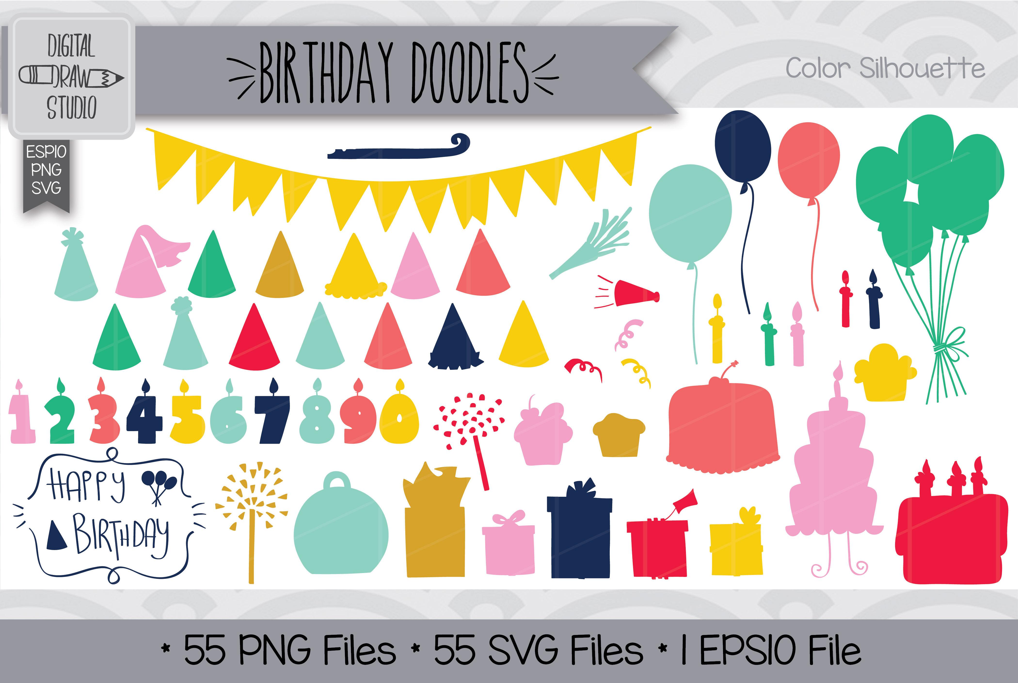 Hand Drawn Birthday Doodles Clip Art Festive Party Illustration