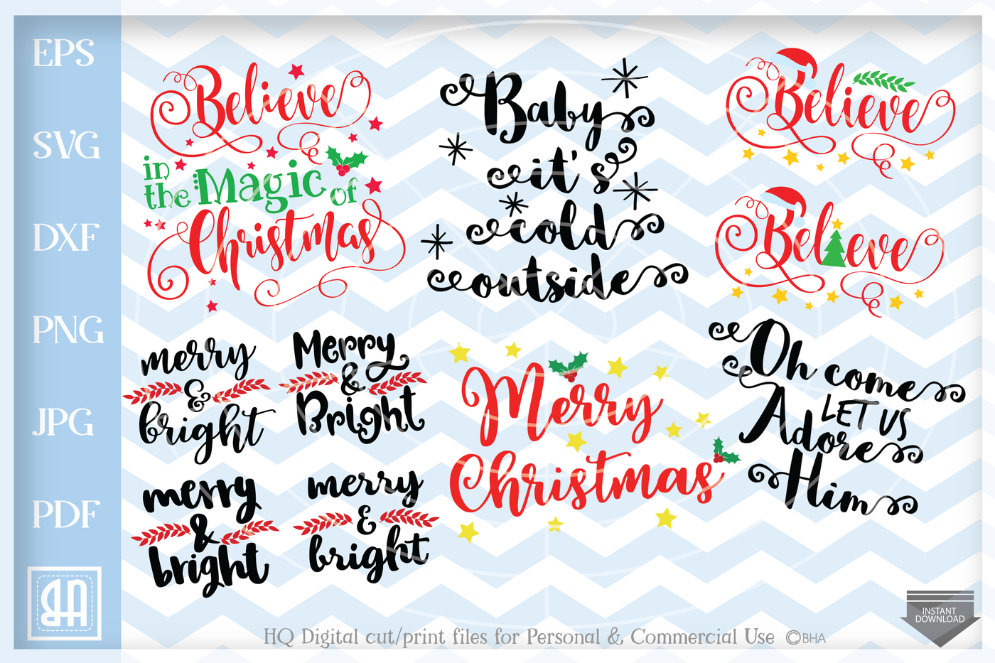 Christmas Bundle Svg Christmas Sayings Bundle Svg By Blueberry