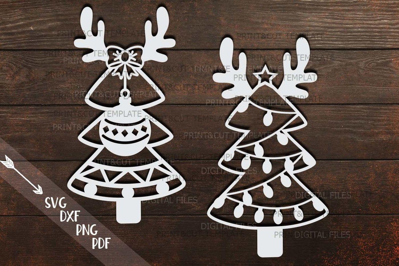 Christmas Trees With Deer Antlers Svg Dxf Paper Vinyl Cut