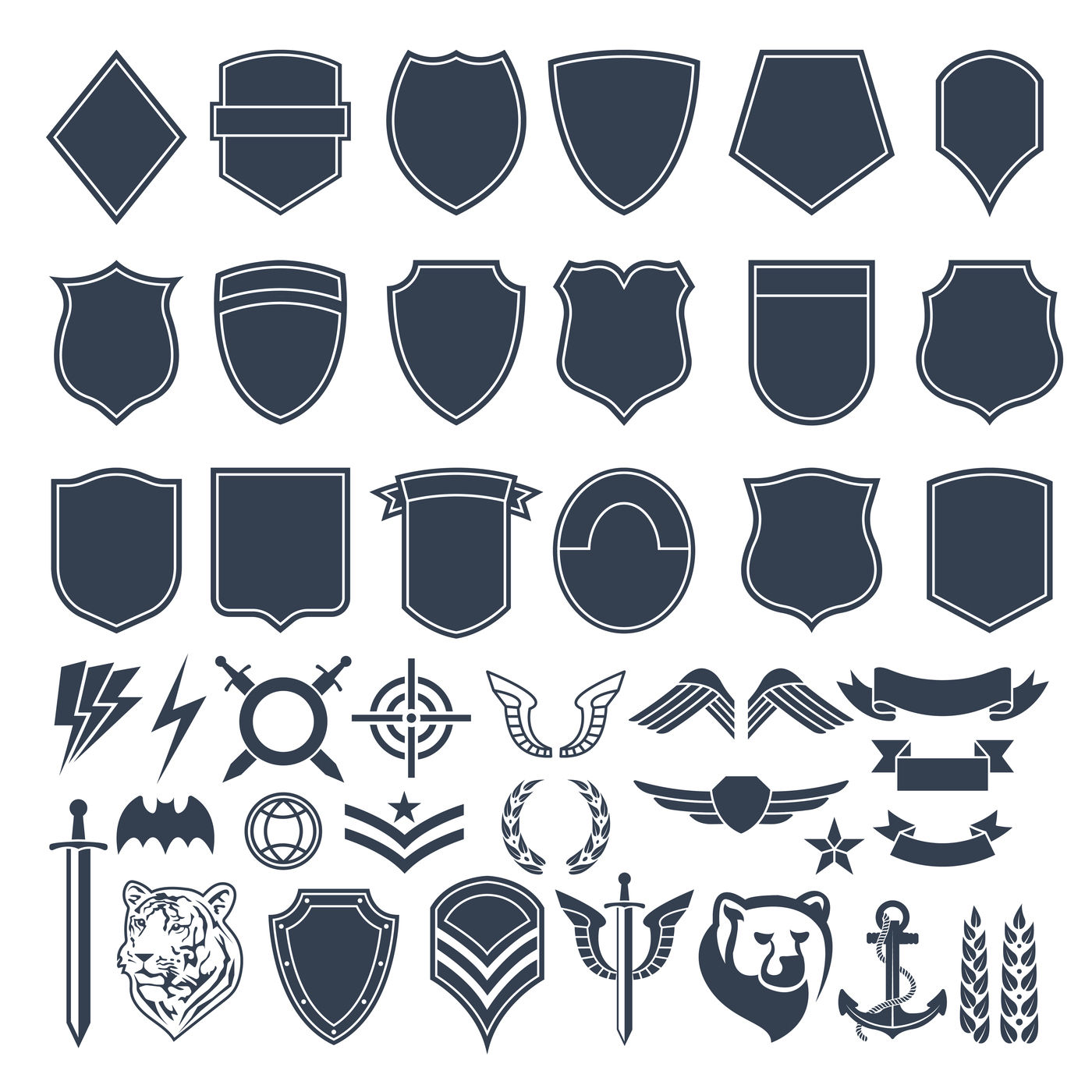 Set of empty shapes for military badges  Army monochrome