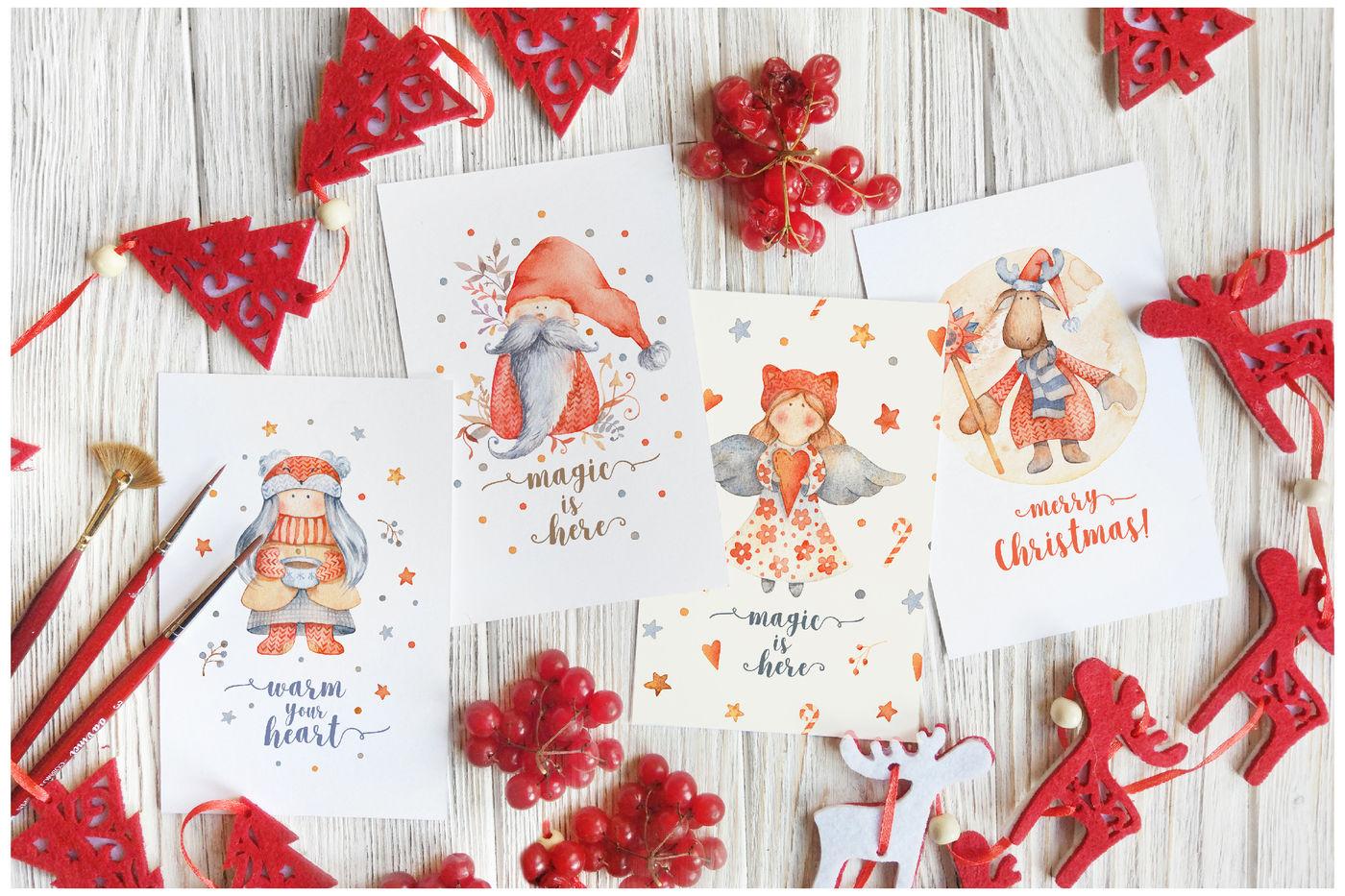 Hygge Christmas Watercolor Set By Lumitar Thehungryjpeg Com