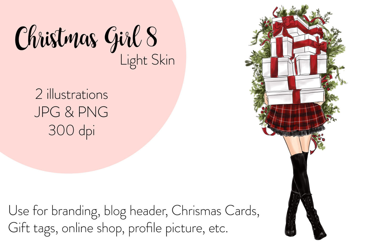 Watercolor Fashion Illustration Christmas Girl 8 Light Skin By