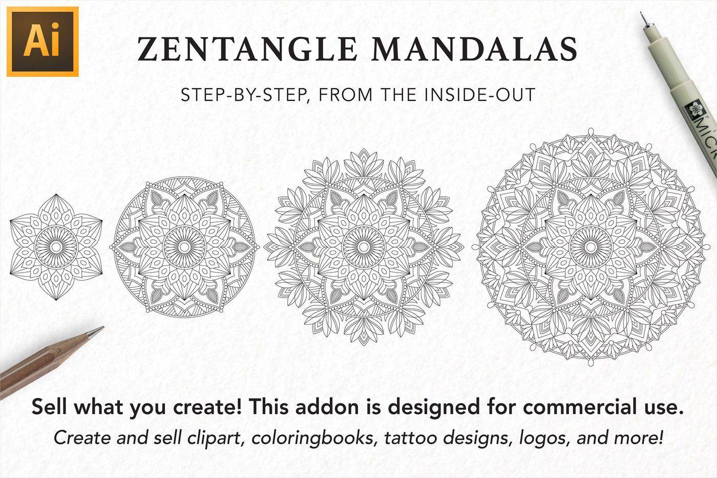 Zentangle Mandala Creator Addon for Illustrator By VectorNomad