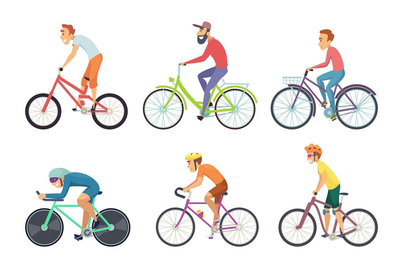 Set of bicycle sportsmen  Cartoon characters driving various