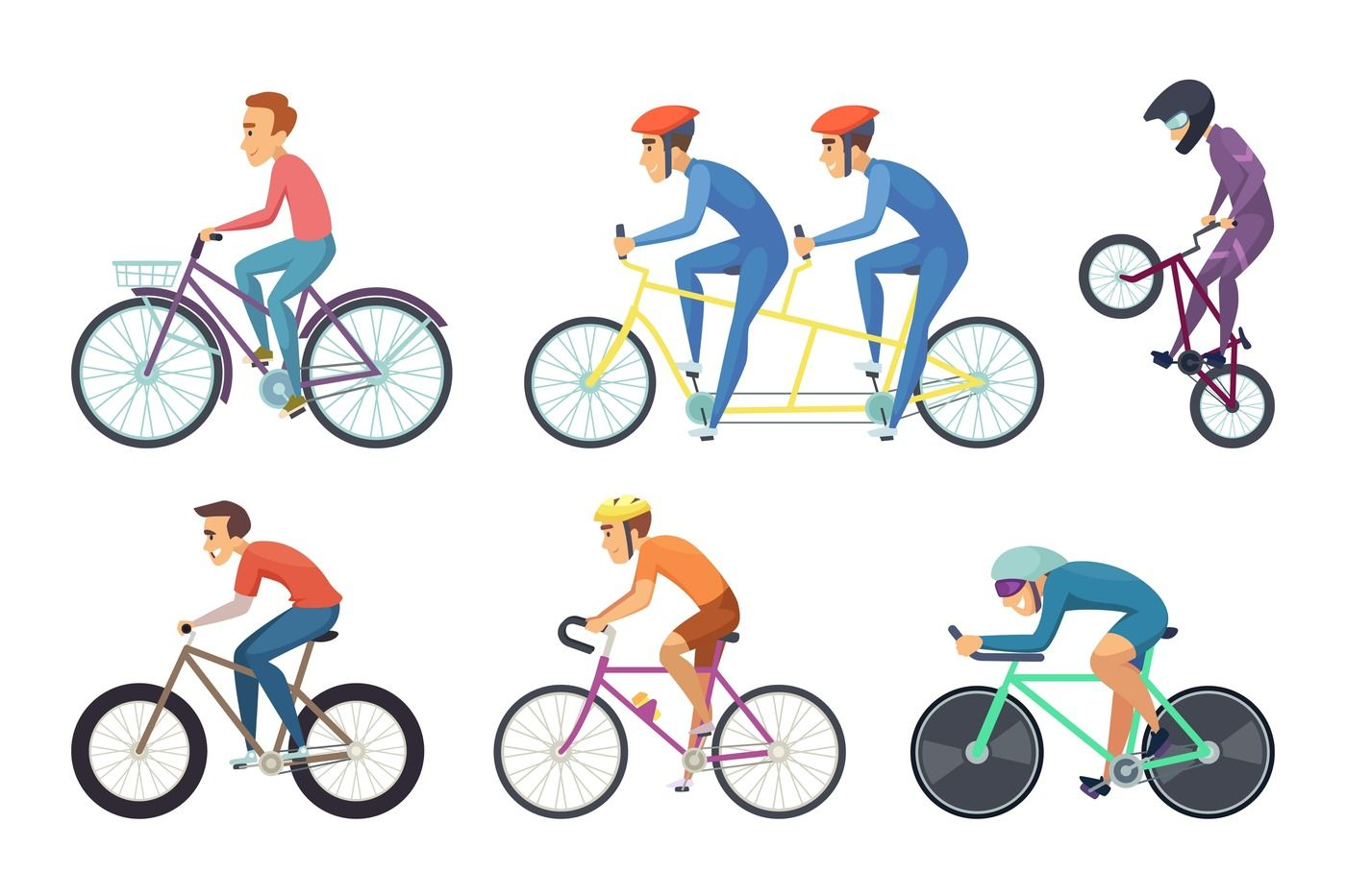Bicyclist ride various bikes  Funny characters isolate on