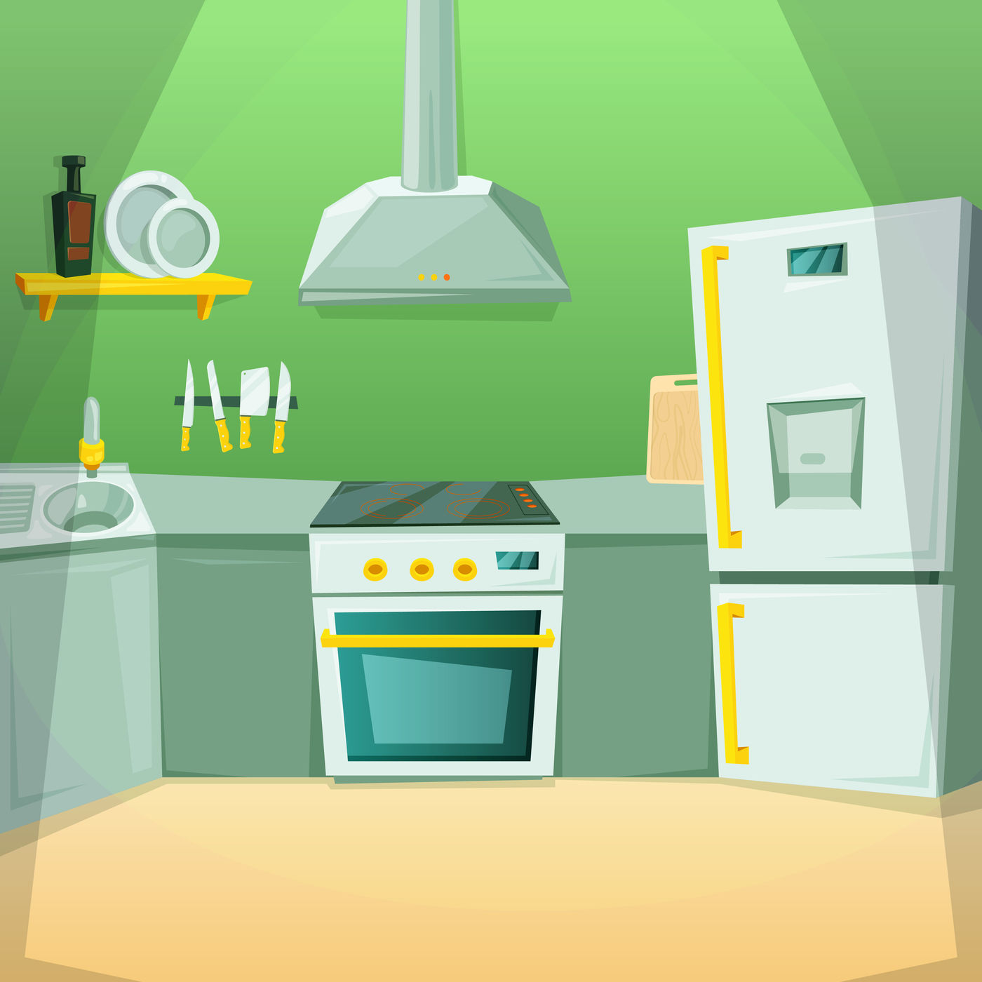 Cartoon Pictures Of Kitchen Interior With Different Furniture Items By Onyx Thehungryjpeg Com