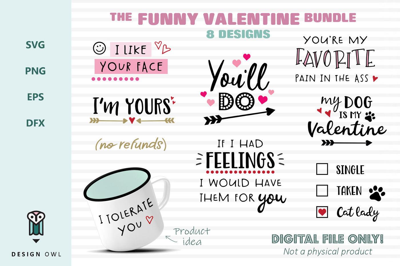 The Funny Valentine Bundle Svg File Bundle By Design Owl