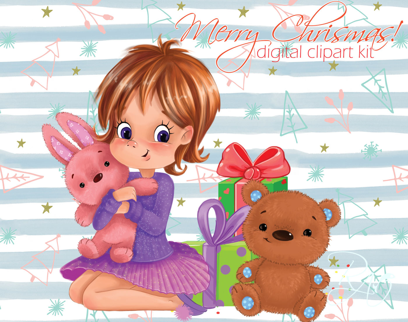 Cute Girl With Gifts And Teddy Bear Christmas Clipart Kit By Rivus
