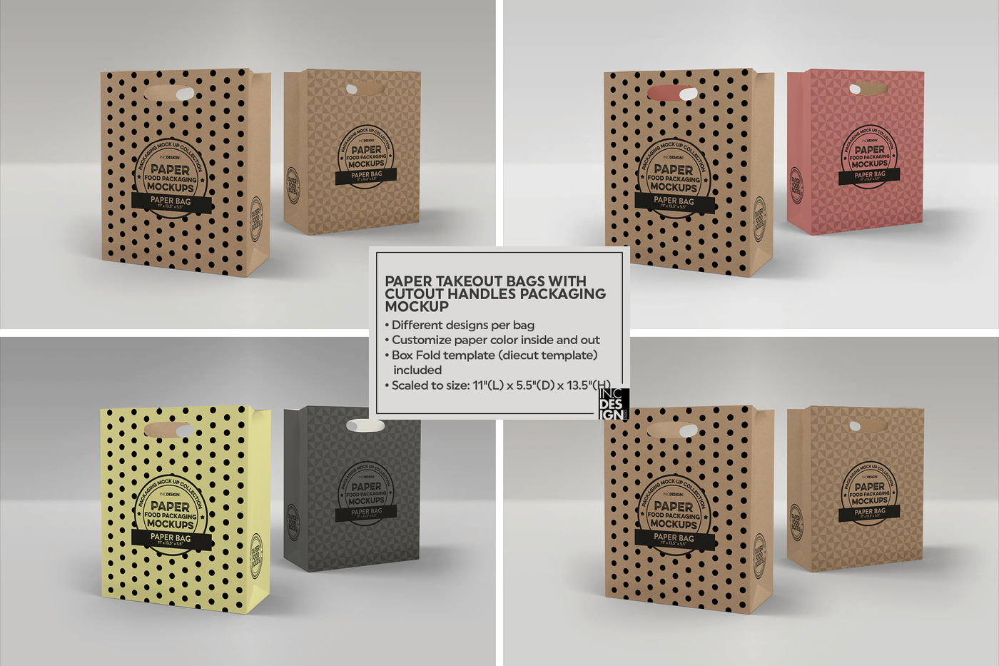 Download Stitched Paper Bag Mockup Front View Yellow Images