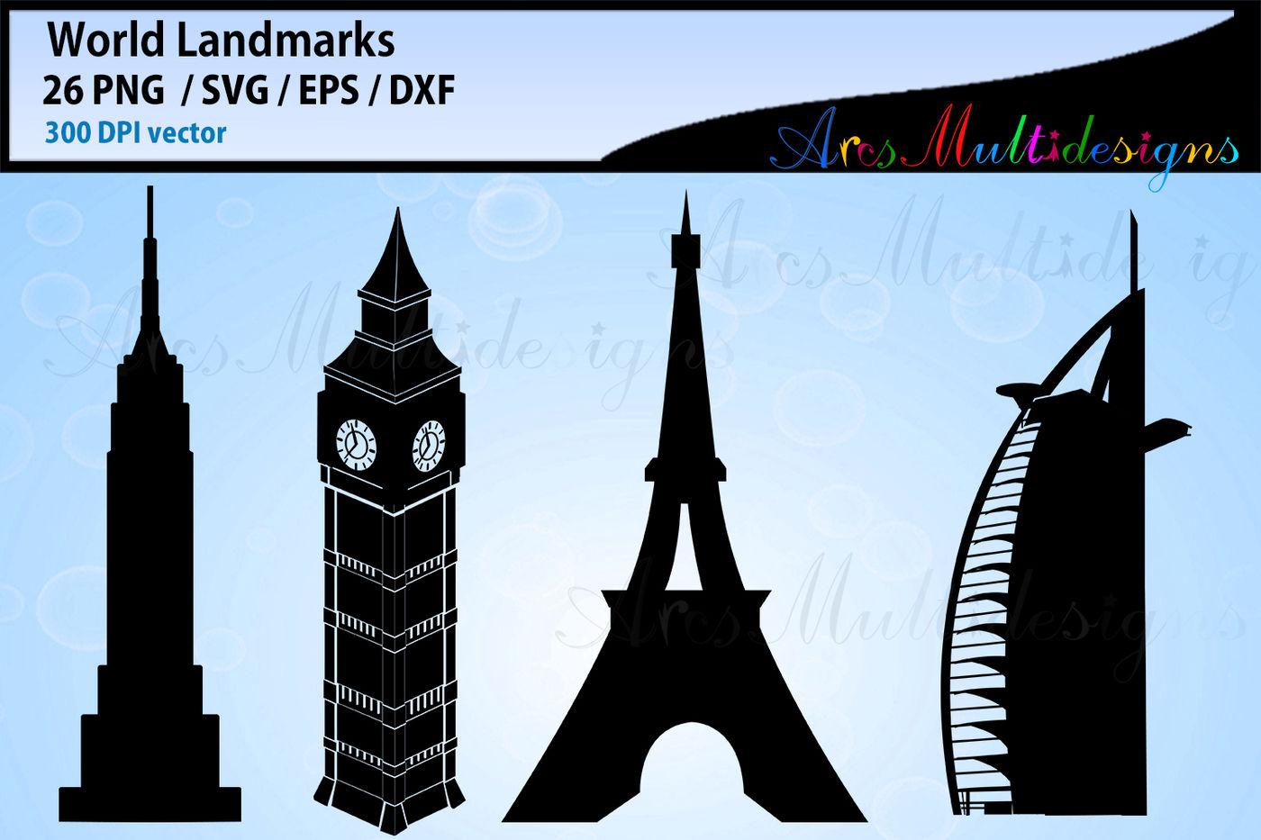 World Lankmarks silhouette svg / world landmark vector cut files