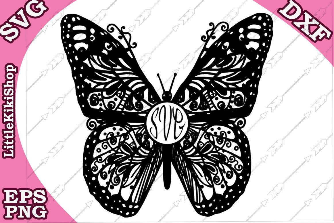 Zentangle Butterfly Monogram Svg Mandala Butterfly Butterfly Cut