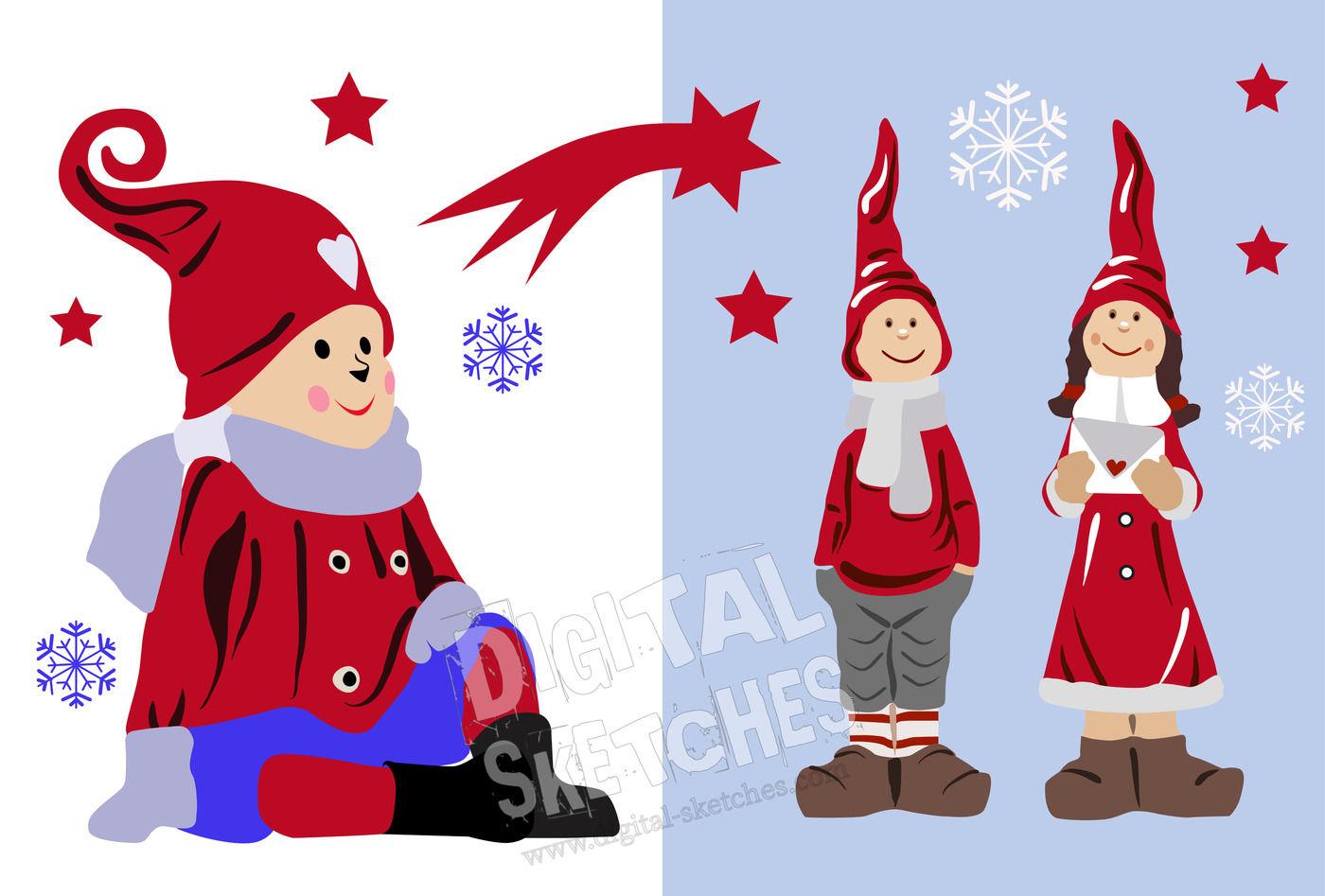 Christmas Cut File Set Gnome Imp Elf Snowflakes Christmas Stars