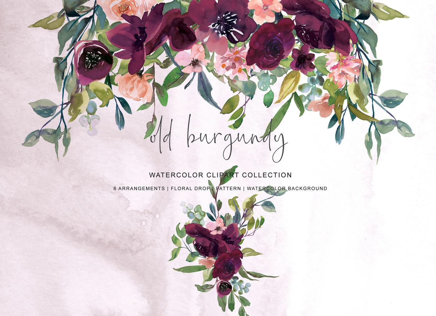 Watercolor Burgundy Flowers Arrangement Clipart By ...