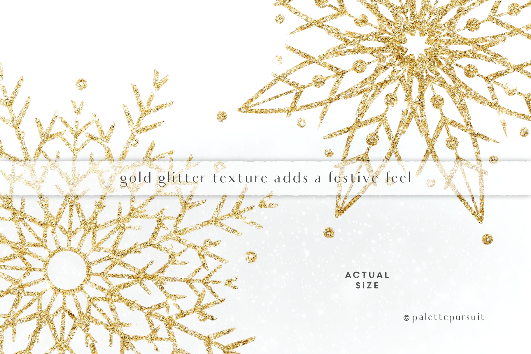 Gold Glitter Snowflakes Clip Art Christmas Clipart By Palette