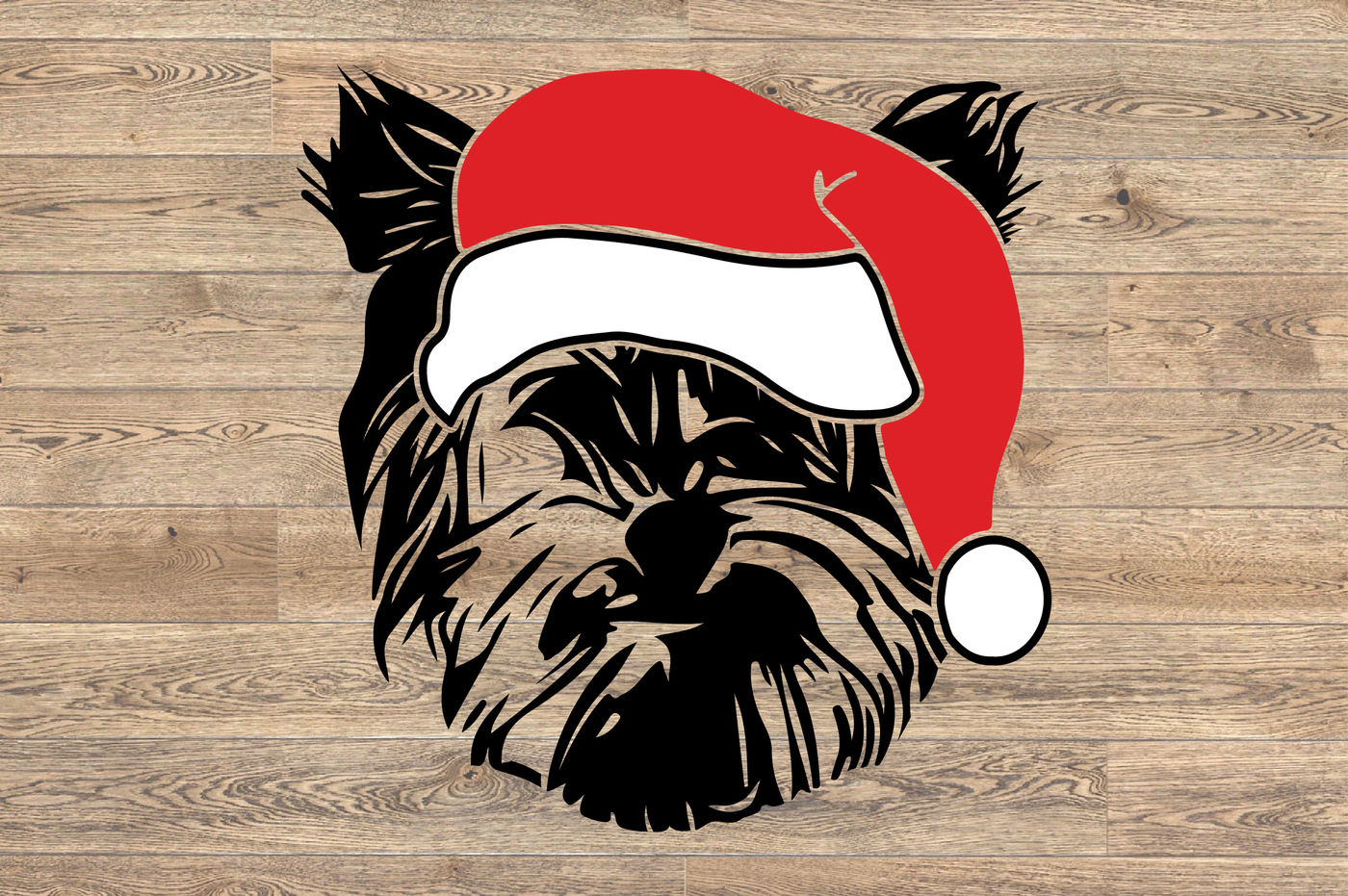 Yorkshire Terrier Whit Christmas Hat Santa Puppy Family Pet 1123s