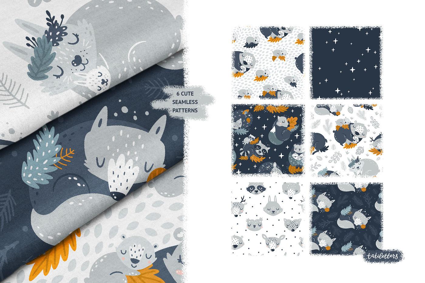 Good Night Sleeping Forest Animals By Tatikarpenko Thehungryjpeg Com
