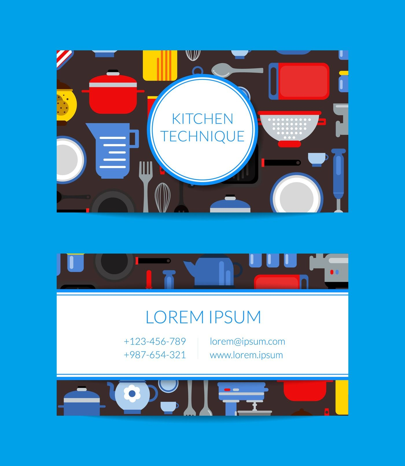 Vector Flat Style Kitchen Utensils Card Template For