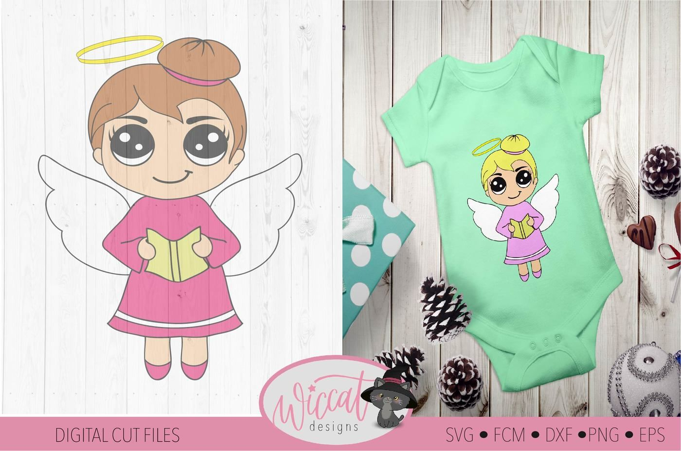 Singing Angel Girl Svg Christmas Angel Kawaii Angel Chibi Angel