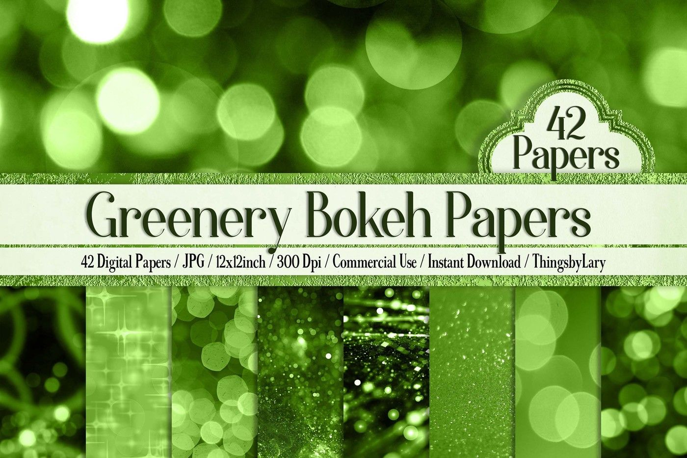 42 Greenery Bokeh And Glitter Digital Papers 12 X 12 Inch By
