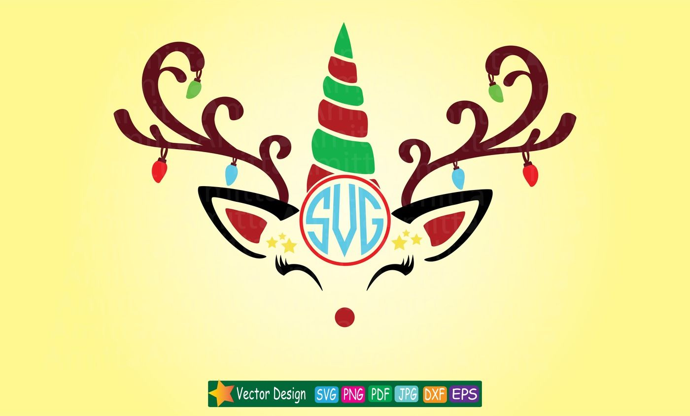 Christmas Unicorn Reindeer Svg By Amittaart Thehungryjpeg Com