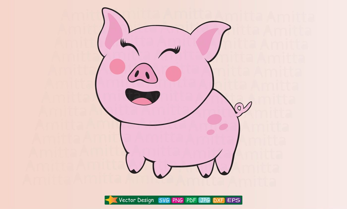 Happy Pig Svg Cut File Cute Pig Face Svg By Amittaart