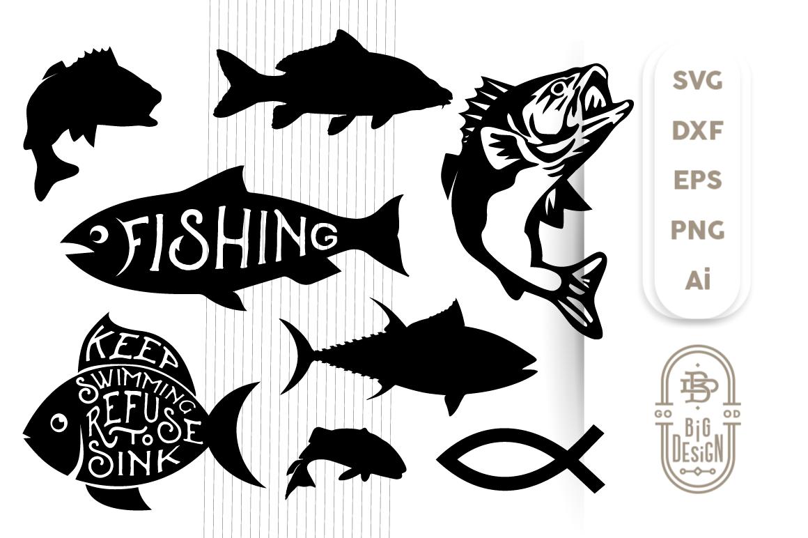 Download Fish Bundle Svg Cut Files Bass Carp Tuna Jesus Fish By Big Design Thehungryjpeg Com
