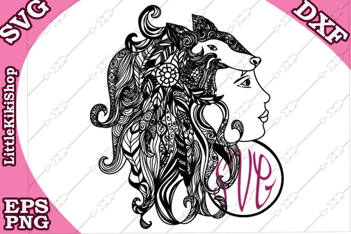 Zentangle Girl Monogram Svg Mandala Girl Svg Fox Girl Cut File