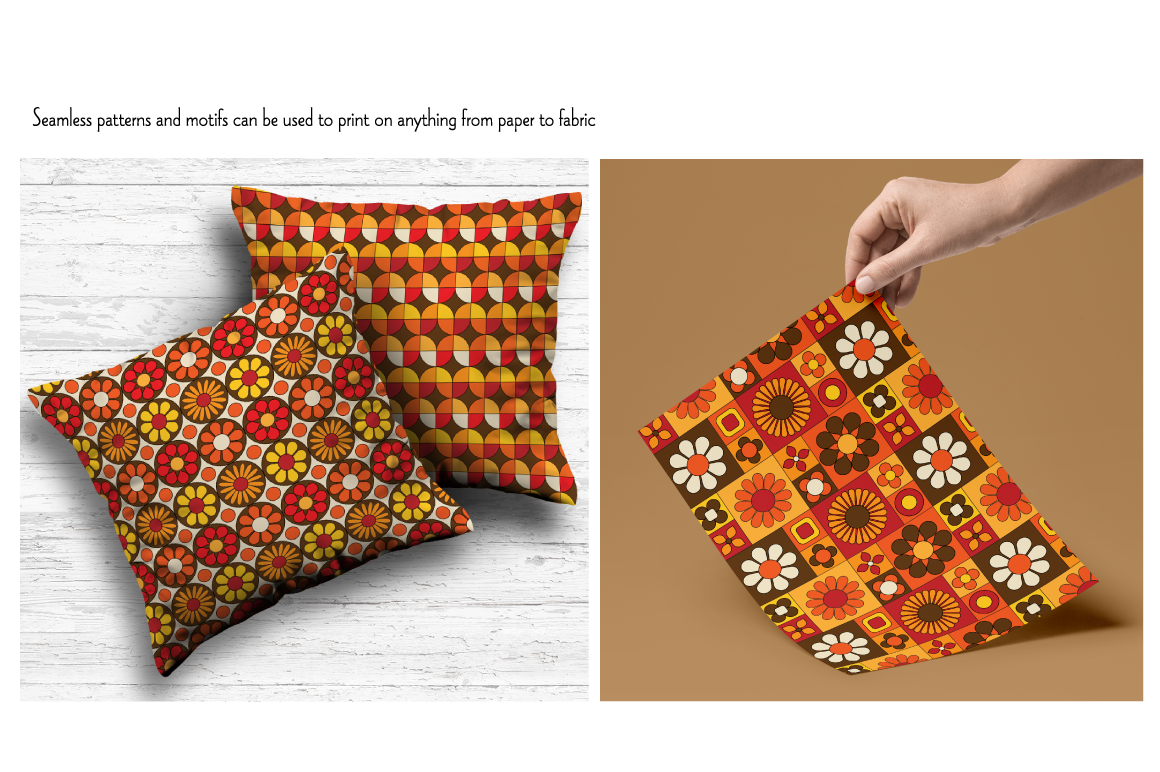 Mod Orange Brown Seamless Patterns By Melissa Held Designs