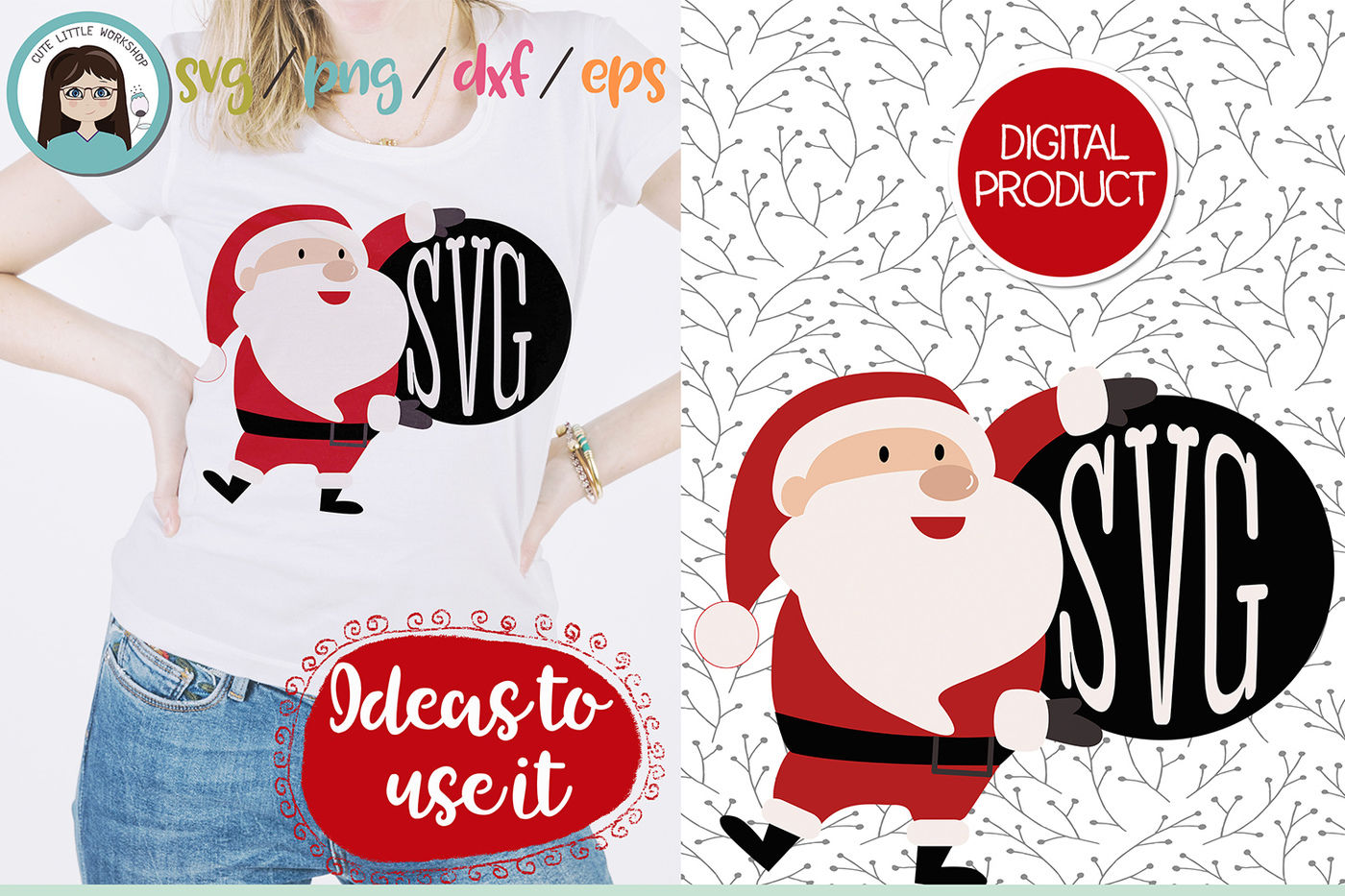 Santa Claus Monogram Svg Dxf Png Eps By Cute Little Workshop