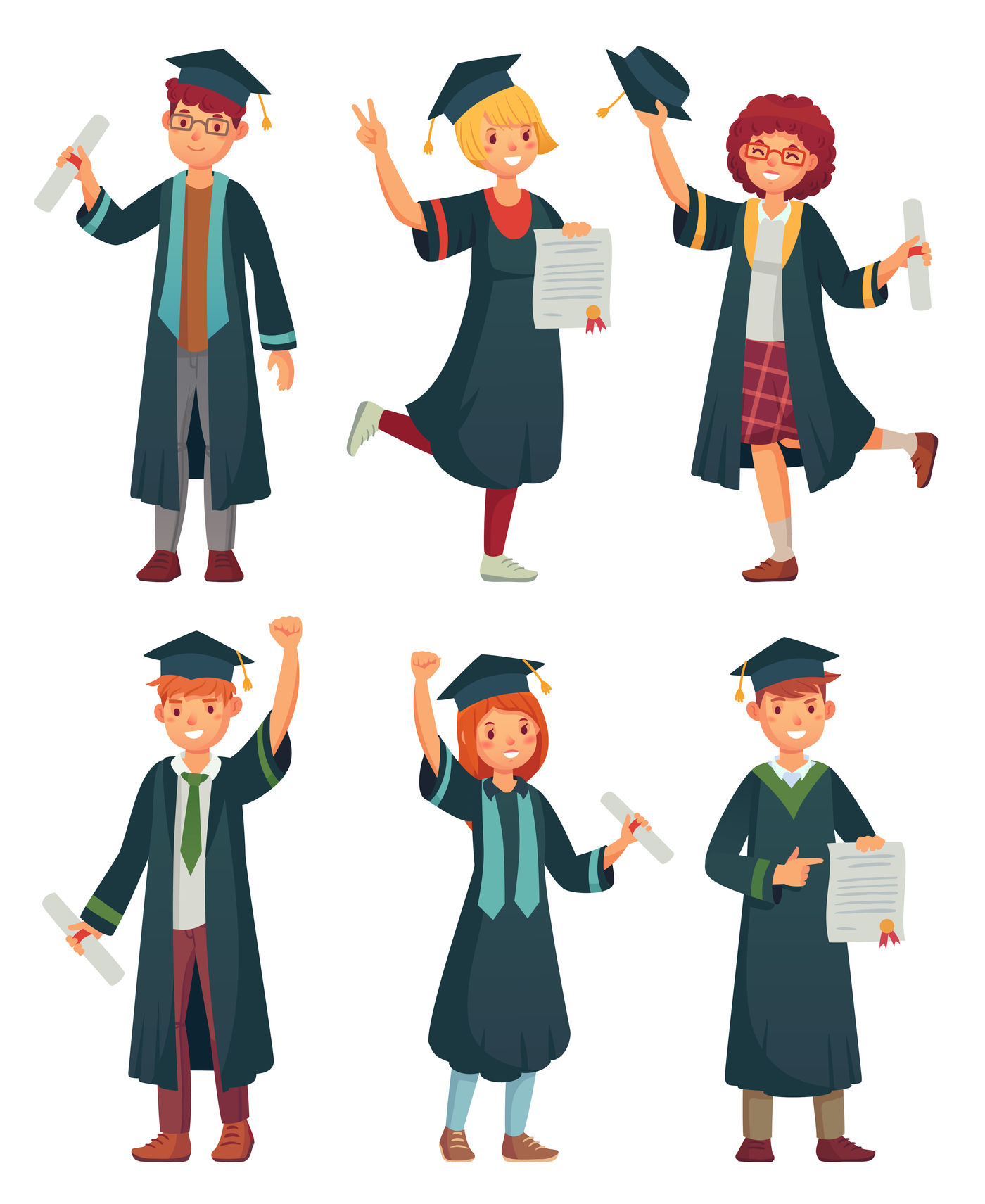 Graduates Students College Student In Graduation Gowns Educated