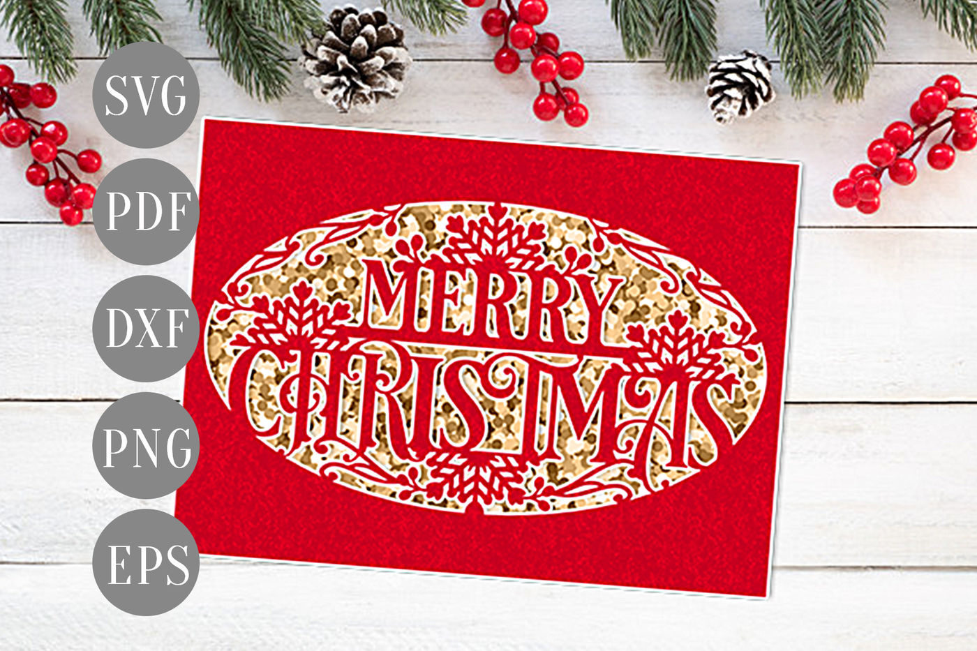 Merry Christmas Papercut Xmas Card Cutting Template Winter Dxf Pdf By Personal Epiphany Thehungryjpeg Com