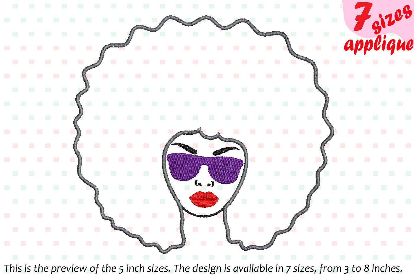 Applique Black Woman Nubian Princess Queen Designs For Embroidery