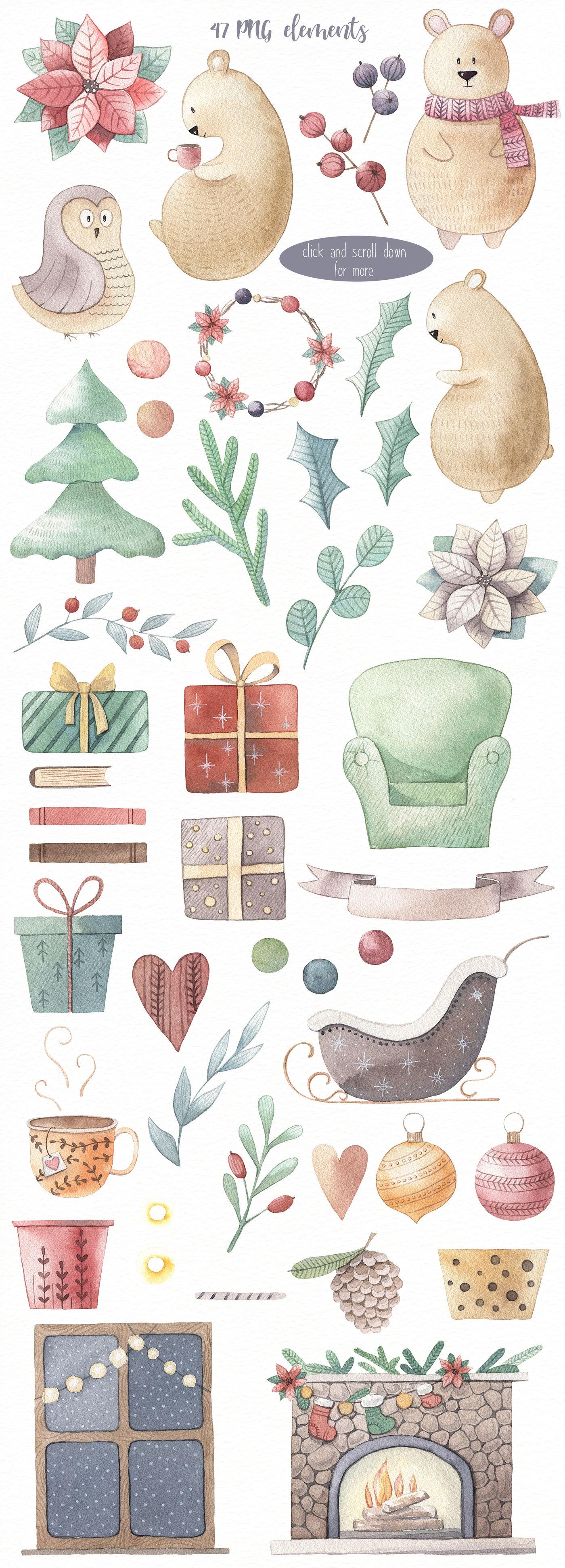 One Bear Christmas Story Watercolor Set By Alesya Pytskaya