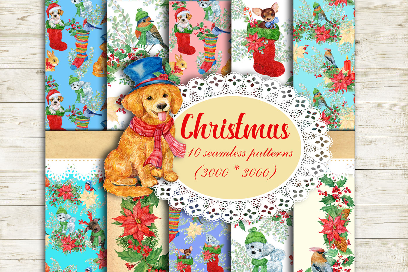 Christmas Seamless Patterns By Clipart Shop Thehungryjpeg Com
