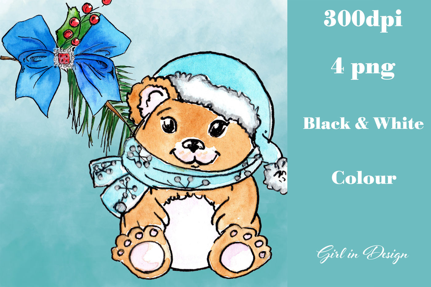 Christmas Teddy Bear With A Ribbon Clipart By Girl In Design