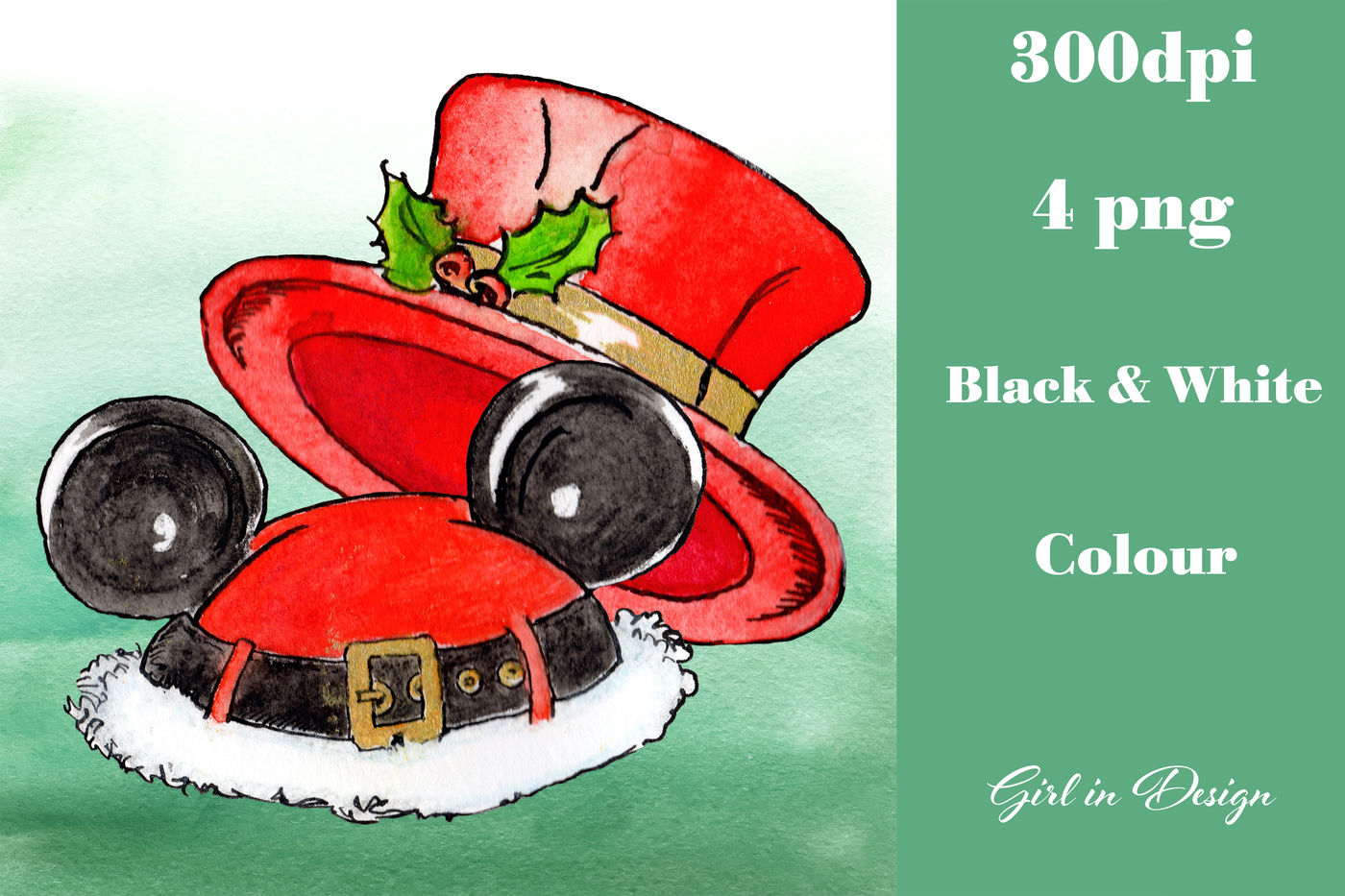 Christmas Hats Clipart By Girl In Design Thehungryjpeg Com