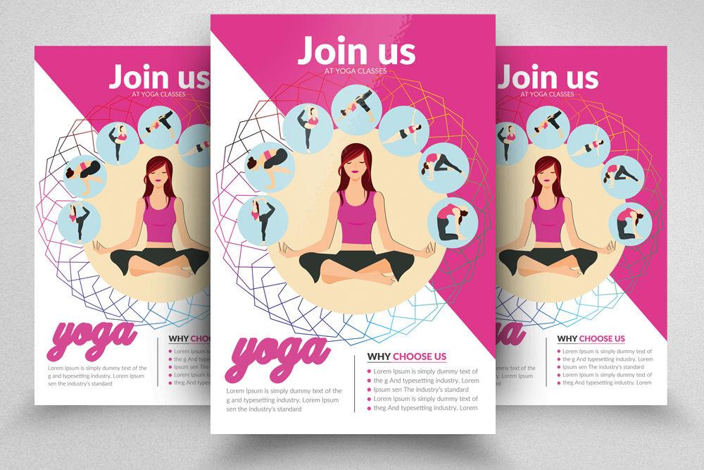 Yoga Classes Flyer Template By Designhub Thehungryjpeg Com
