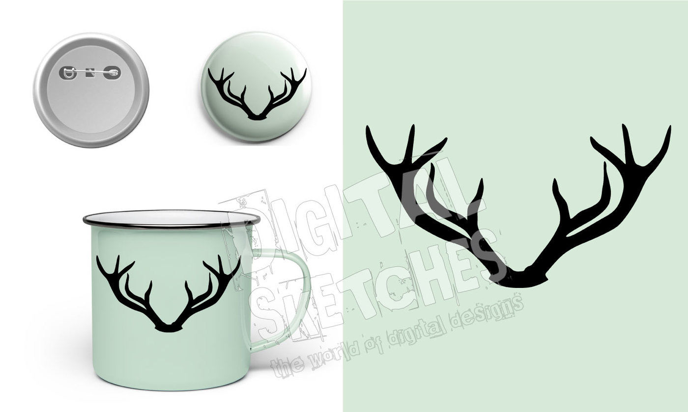 Deer Antlers Wild Cut File Vector Silhouette Svg Dxf By Digital