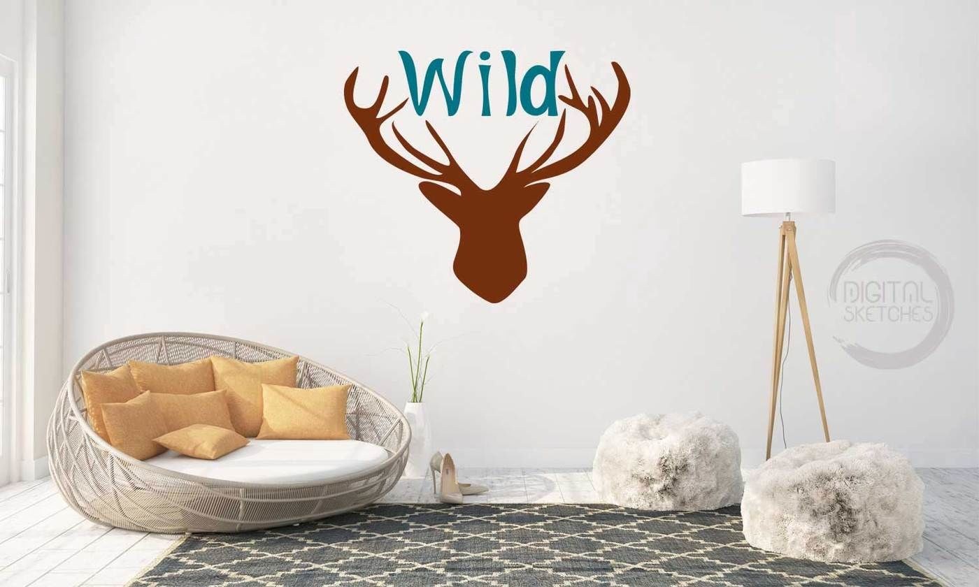 Deer Head Antlers Wild Saying Cut File Vector Silhouette Svg Dxf