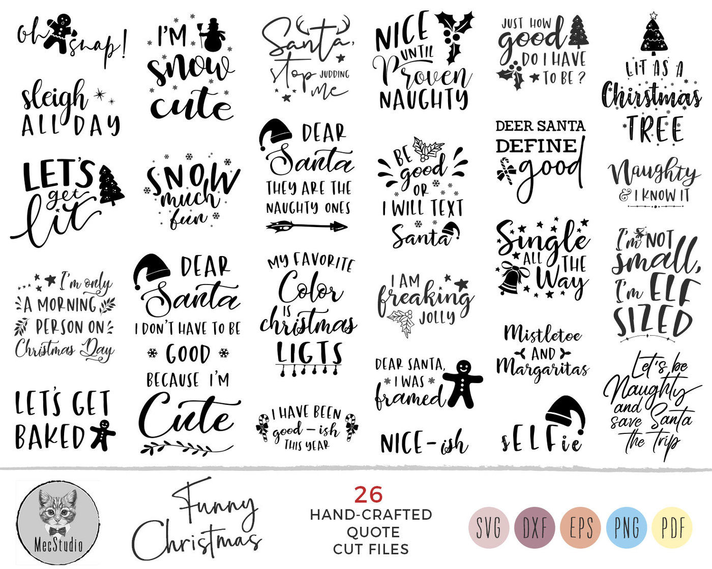 Christmas Quotes Svg.Funny Christmas Quotes Svg Cut File Bundle Deal By Mecstudio