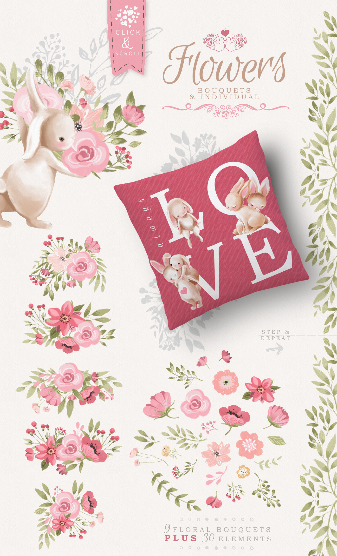 Bunnies In Love Clipart Set By Anna S Creations Thehungryjpeg Com