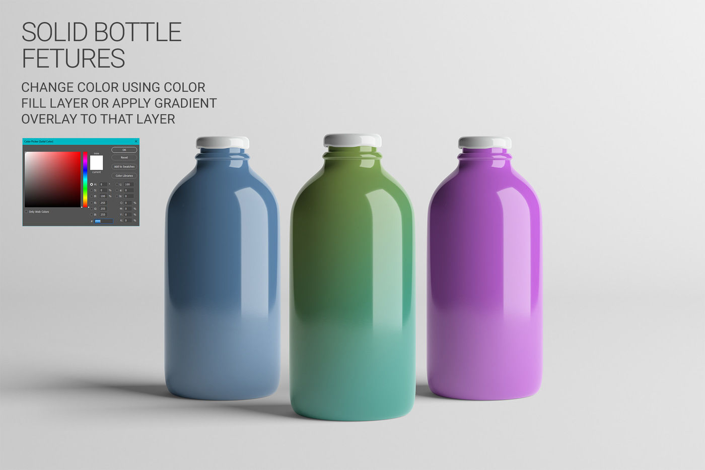 Plastic Juice Bottle Mockup Front View