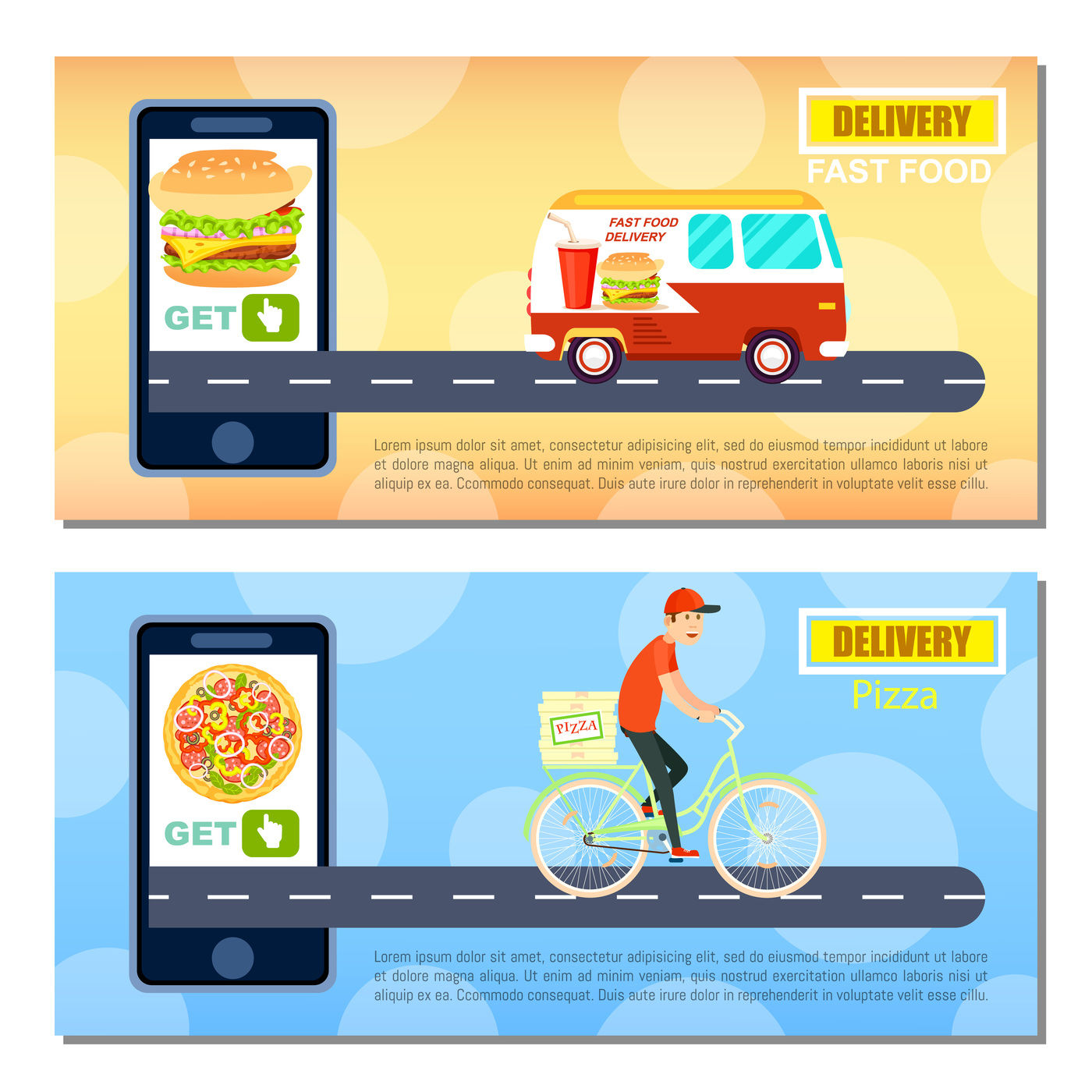 Fast food and pizza delivery flyers  By Alfazet Chronicles
