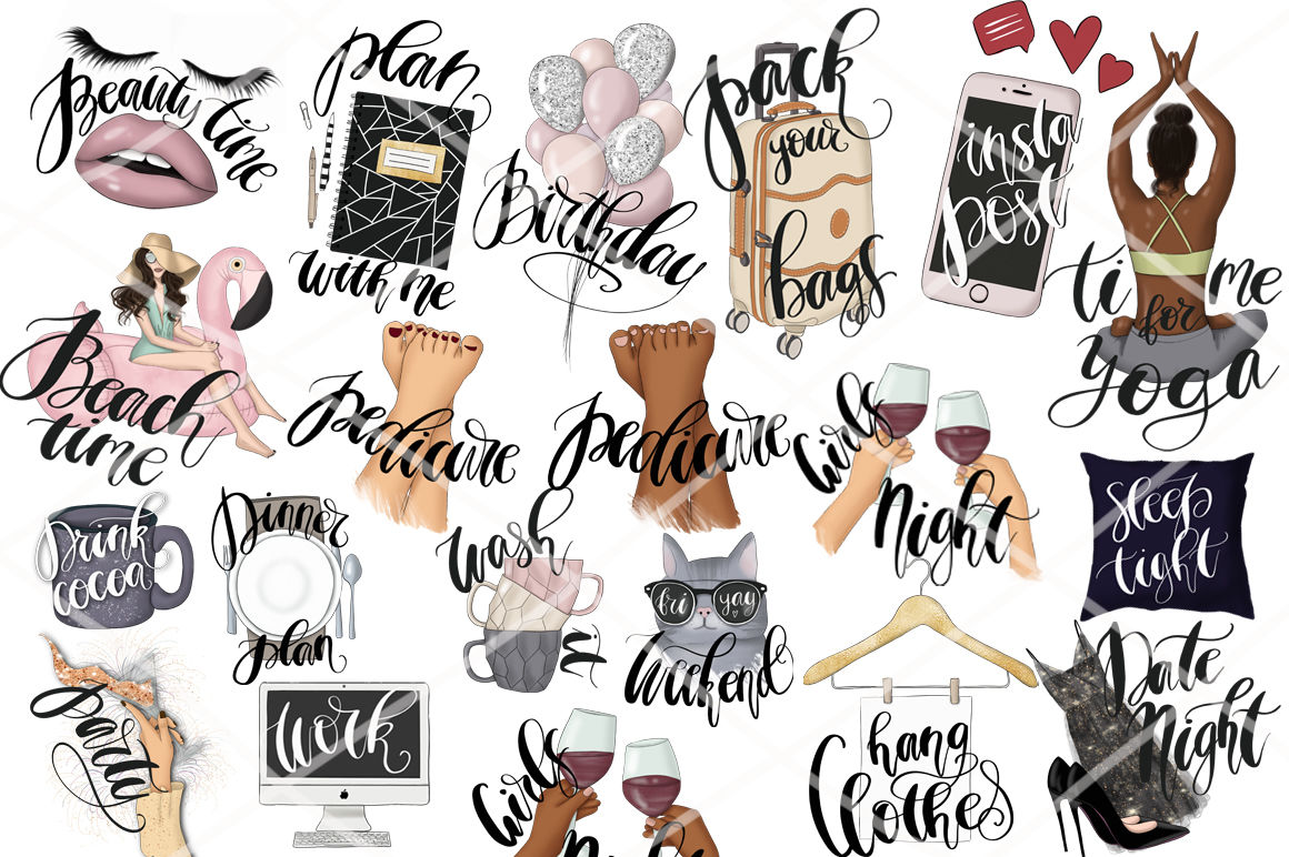 Planner Stickers Clipart Collection By Tanya Kart Thehungryjpeg Com