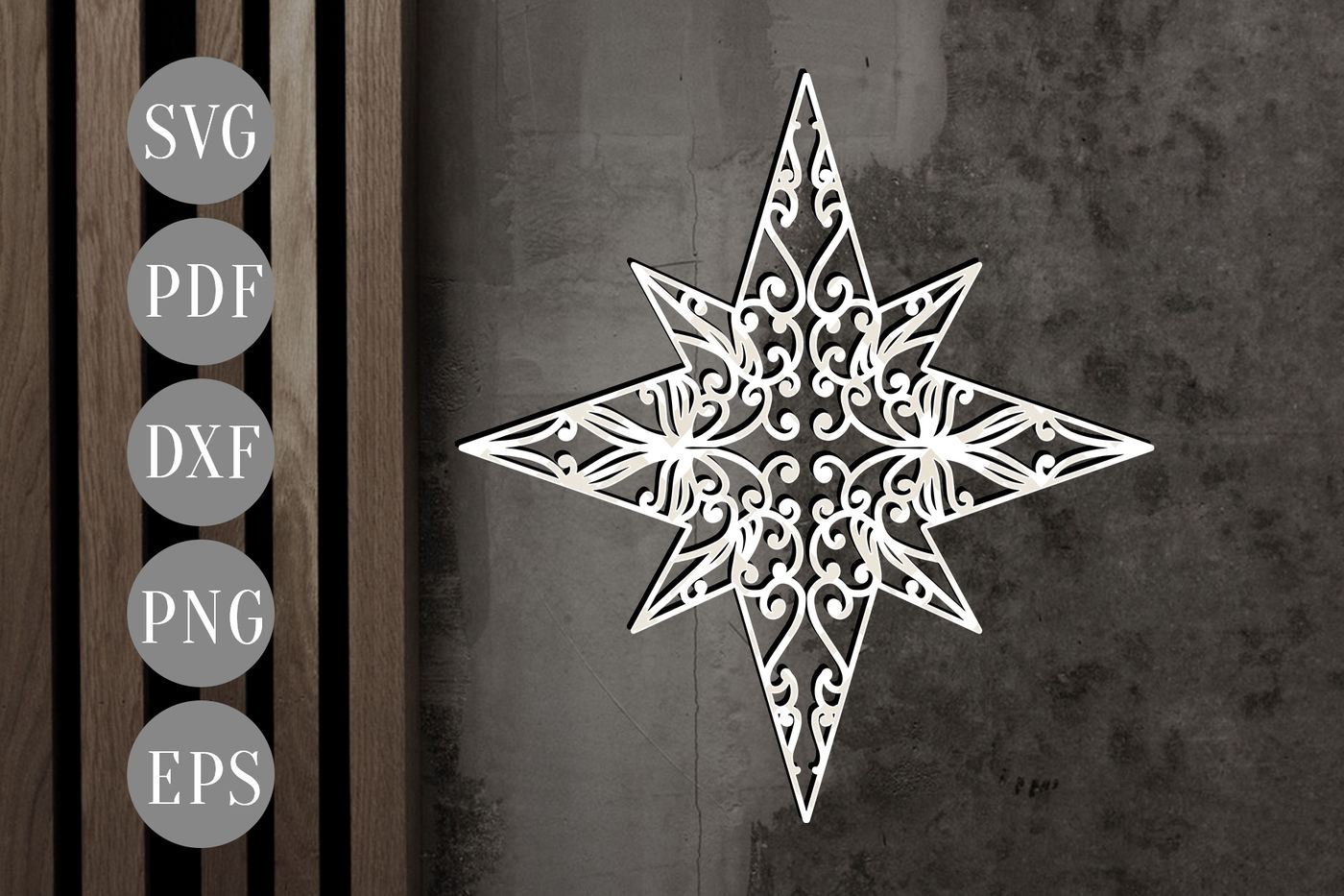 Christmas Star Papercut Xmas Card Cutting Template Dxf Pdf By