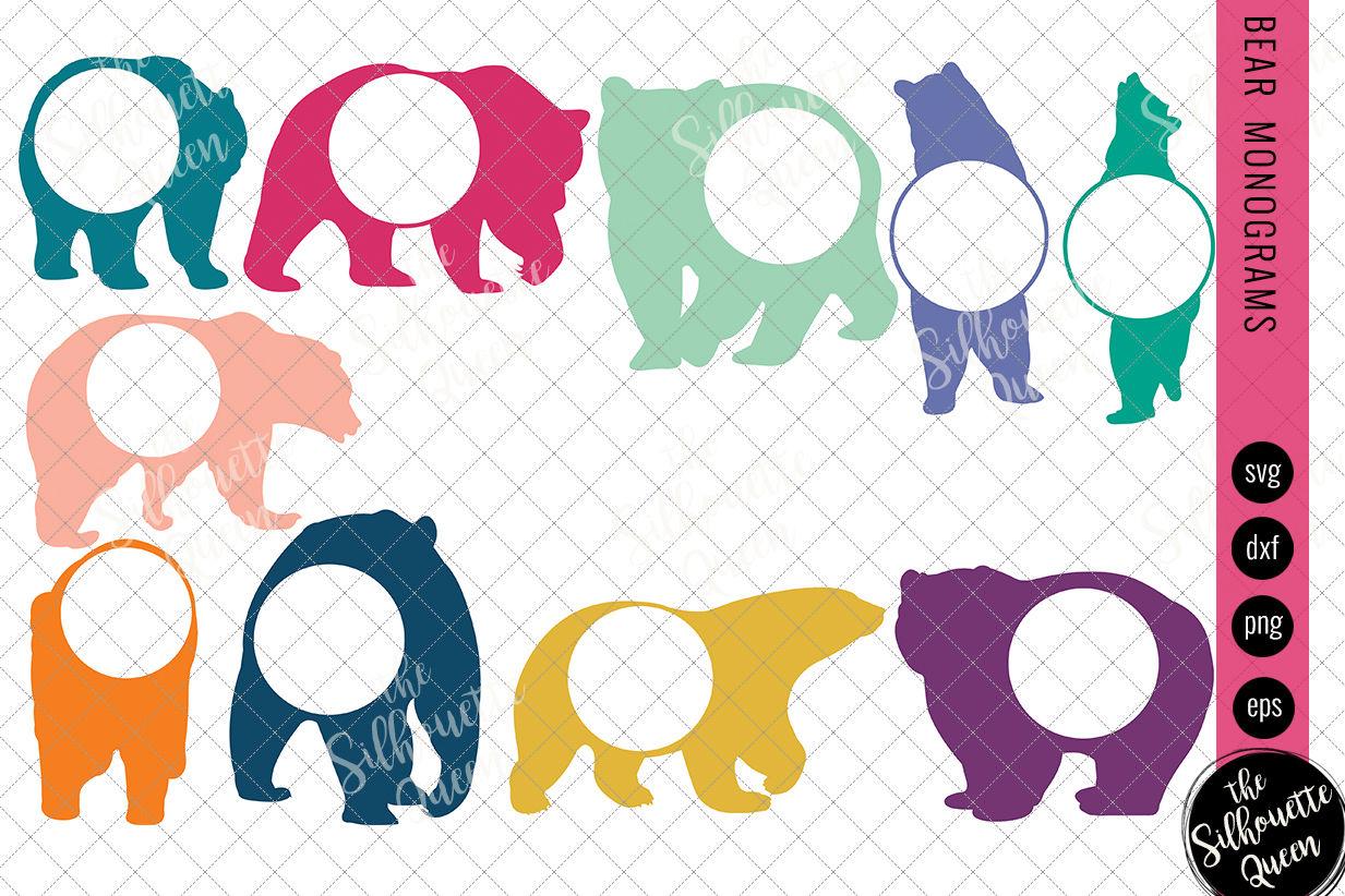 Bear Svg Monogram Svg Circle Frames Cuttable Design Cut Files